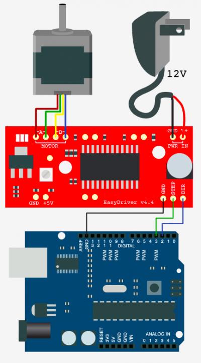 arduino驱动控制步进电机接线原理图